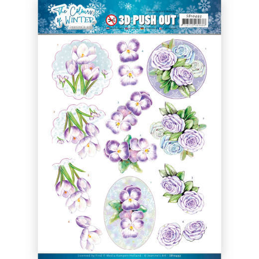 Jeanine`s Art - Uitdrukvel A4 - The colours of winter - Purple winter flowers - SB10493