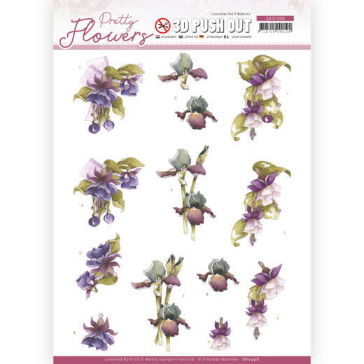 Precious Marieke - Uitdrukvel A4 - Pretty Flowers - Purple Flowers - SB10498