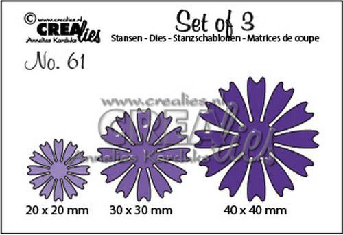 Crealies - Die - Set of 3 - Solid Flowers 26 - CLSet61
