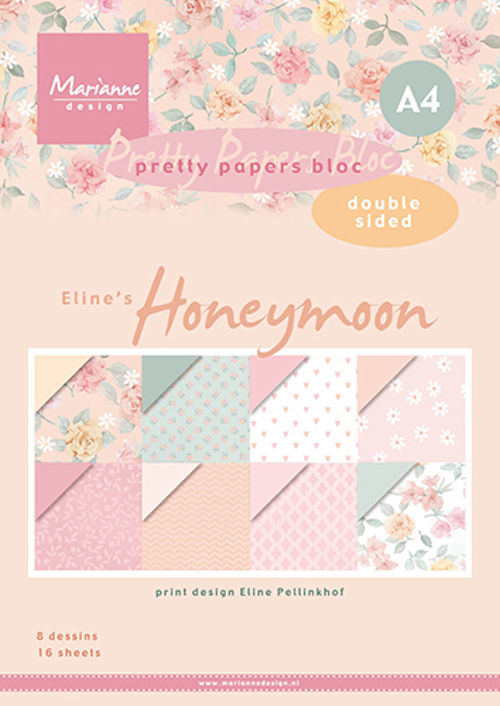 Marianne Design - Paperpack - A4 - Pretty Papers - Eline`s Honeymoon - PB7060
