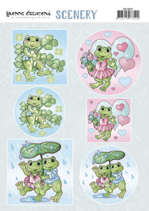 Yvonne Creations - Uitdrukvel A4 - Scenery - Aquarella - Happy Frogs - CDS10022