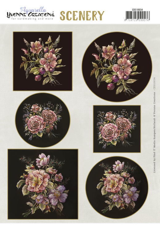 Yvonne Creations - Uitdrukvel A4 - Scenery - Aquarella - Antique Flowers - CDS10034