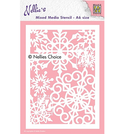 Nellie Snellen - Mixed Media Stencil - A6 - Large snowflakes - MMSA6-013