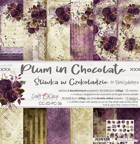 Craft O`Clock - Paperpack - 305 x 305mm - Plum in Chocolate - CC-ZD-PC-36
