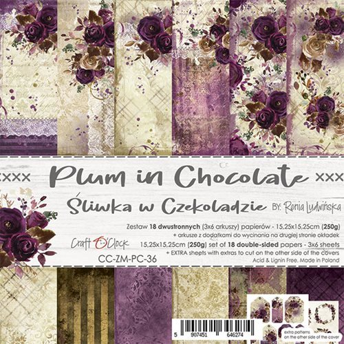 Craft O`Clock - Paperpack - 152 x 152mm - Plum in Chocolate - CC-ZM-PC-36