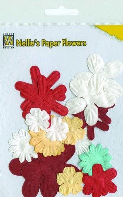 Nellie Snellen - Paper flowers: Christmas red - 162661