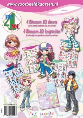 F & F Cards - 3D-kaartenboek - 4 For you - Blossom - S4-3009