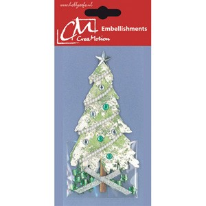 CreaMotion - Embellishment - Kerstboom: Zilver - BST180399