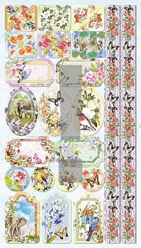 Joy! crafts - Embossed Glitter Stickers - Vogels-olifant 2 - 6013/1017