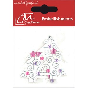 CreaMotion - Embellishment - Christmas: Witte bomen - BST177699