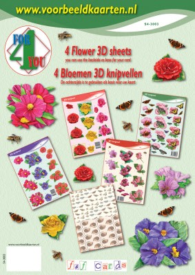 F & F Cards - 3D-kaartenboek - 4 For you - Flower - S4-3003