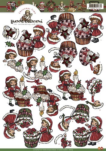 Card Deco - Yvonne Creations - 3D-knipvel A4 - Christmas Time - Cupcakes - CD10174