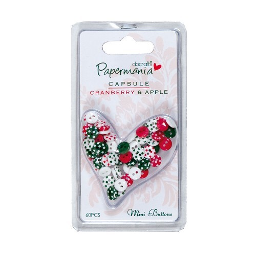 Papermania - Mini Buttons - Polka: Cranberry & Apple - PMA3541209