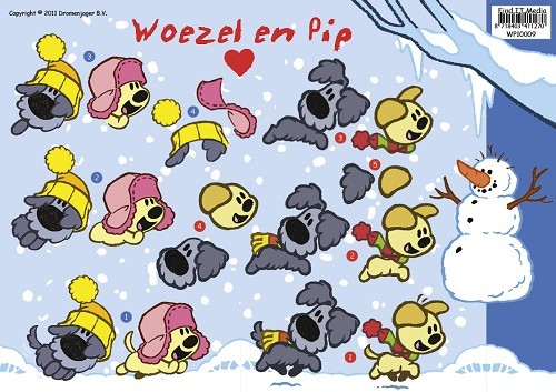 Card Deco - Woezel & Pip - 3D-knipvel A4 - Winter - WP10009