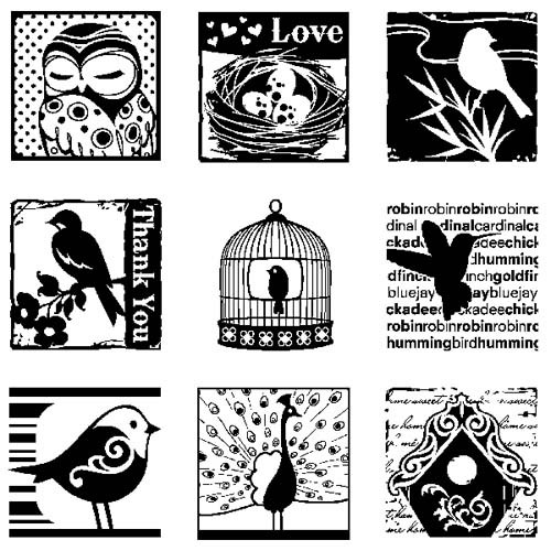 Inkadinkado - Clearstamp - Birds Inchie - 60-30162