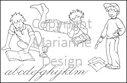 Marianne Design - Tiny`s - Clearstamp - Boys and books - TC0817