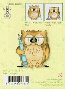 Leane Creatief - Clearstamp - Owl Popco with pen - 55.7612