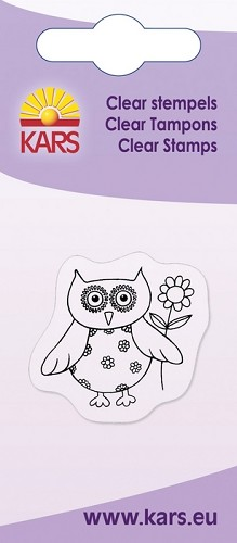 Kars - Clearstamp - Owl with flower - 180009/1021