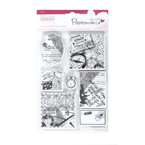 Papermania - Cling Stamp - Travel Print - PMA907125
