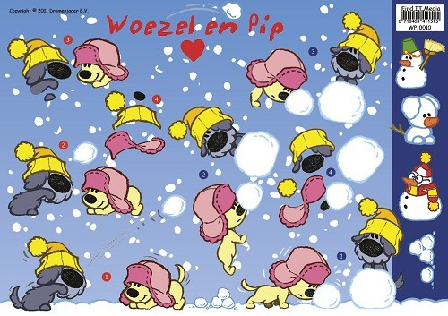 Card Deco - Woezel & Pip - 3D-knipvel A4 - Winter - WP10010
