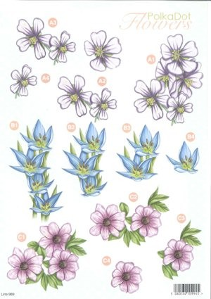 Craft UK - (3D-)Stansvel A4 - PolkaDot Flowers - Line989