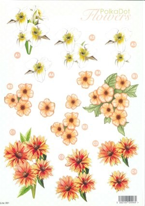 Craft UK - (3D-)Stansvel A4 - PolkaDot Flowers - Line991