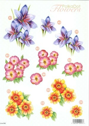 Craft UK - (3D-)Stansvel A4 - PolkaDot Flowers - Line992
