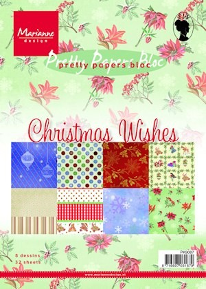 Marianne Design - Paperpack - Pretty Papers - Christmas wishes - PK9087