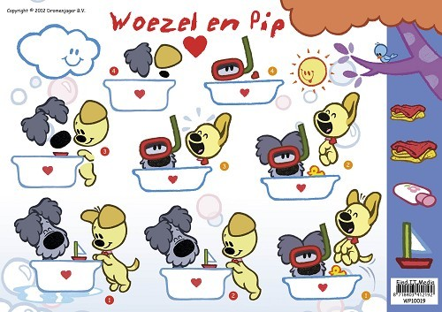 Card Deco - Woezel & Pip - 3D-knipvel A4 - In bad - WP10019