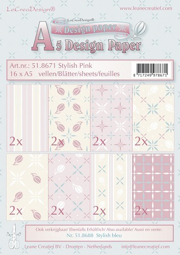 Leane Creatief - Paperpack - Design Paper - Stylish pink - 51.8671