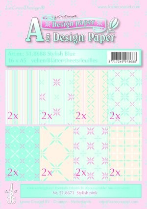 Leane Creatief - Paperpack - Design Paper - Stylish blue - 51.8688