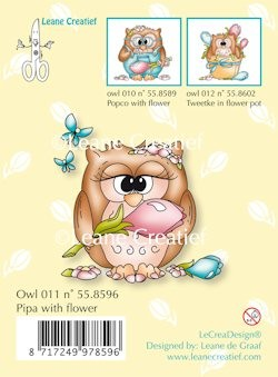 Leane Creatief - Clearstamp - Owl Pipa with flower - 55.8596