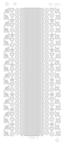 Card Deco - Stickervel - Platinum - Various Lines and Corners 2: Zilver - CD3062