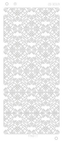 Card Deco - Stickervel - Platinum - Flower Corners: Goud - CD3069
