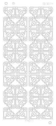 Card Deco - Stickervel - Platinum - Flower Corners: Zilver - CD3074