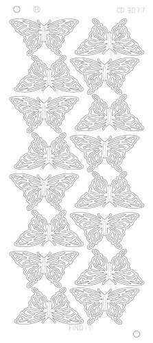 Card Deco - Stickervel - Platinum - Butterflies Large: Zilver - CD3077