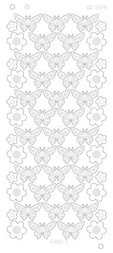 Card Deco - Stickervel - Platinum - Flowers Butterflies: Zilver - CD3078