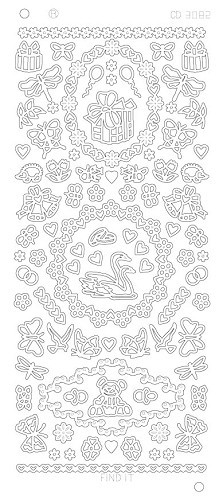 Card Deco - Stickervel - Platinum - Various Ornaments: Goud