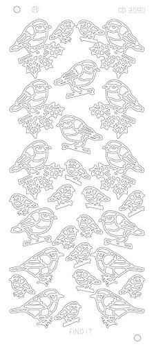 Card Deco - Stickervel - Platinum - X-mas birds: Goud - CD3090