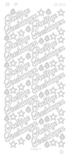Card Deco - Stickervel - Platinum - Prettige Feestdagen: Zilver - CD3015