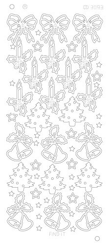 Card Deco - Stickervel - Platinum - Diverse kerstplaatjes: Goud - CD3093