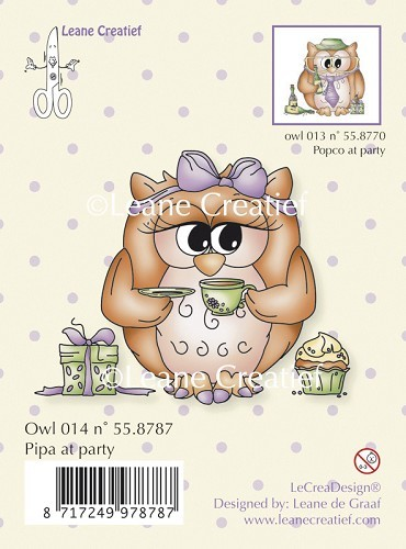 Leane Creatief - Clearstamp - Owl Pipa at party - 55.8787