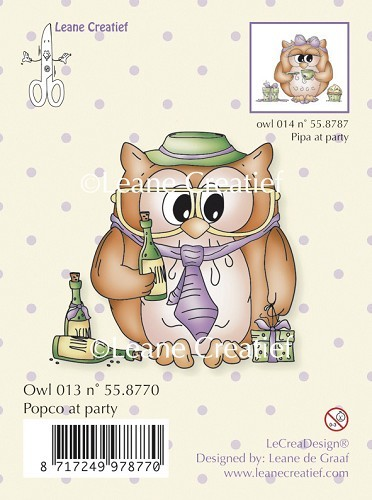 Leane Creatief - Clearstamp - Owl Popco at party - 55.8770