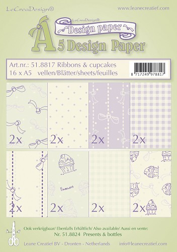 Leane Creatief - Paperpack - Design Paper - Ribbons & cupcakes - 51.8817