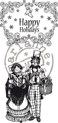 Marianne Design - Cling Stamp - Vintage Christmas - Happy Holidays - CS0875