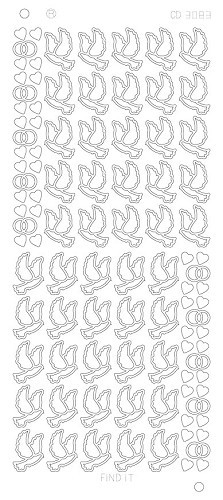 Card Deco - Stickervel - Platinum - Wedding doves: Zilver - CD3083