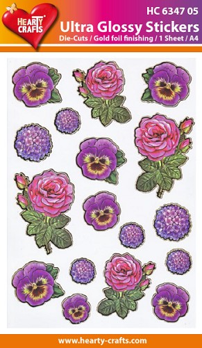 Hearty Crafts - Ultra Glossy Stickers - Bloemen - HC634705