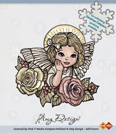 Amy Design - Clearstamp - Christmas Collection - Angel with roses - ADST10001