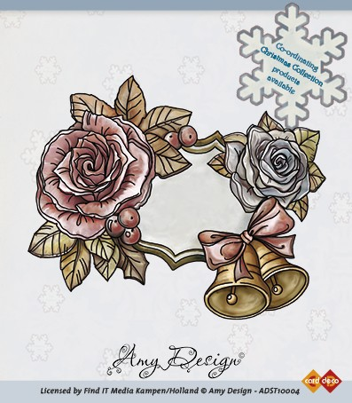 Amy Design - Clearstamp - Christmas Collection - Roses and bells - ADST10004