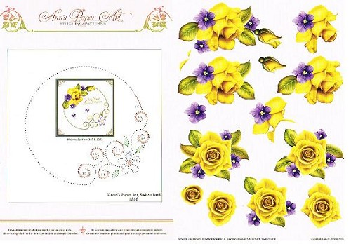 Card Deco - Ann`s Paper Art - 3D-knipvel - Yellow Rose